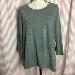 Style & Co Acid Wash Ruffle Top Size L